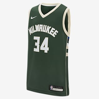 Icon Edition Swingman Jersey (Milwaukee Bucks) Koszulka dla dużych dzieci Nike NBA
