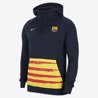 FC Barcelona Pánská flísová fotbalová mikina skapucí
