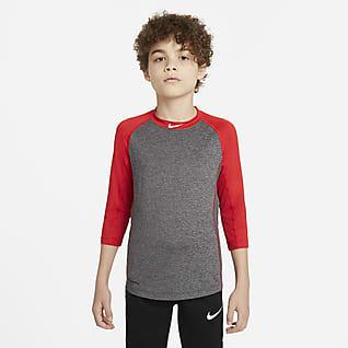 Nike Pro Dri-FIT Camiseta de béisbol de manga 3/4 para niño talla grande
