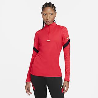 Nike Dri-FIT Strike Camiseta de entrenamiento de fútbol con cierre de 1/4 para mujer