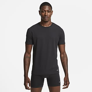 Nike Everyday Cotton Stretch Camiseta interior de cuello redondo de ajuste entallado para hombre (paquete de 2)