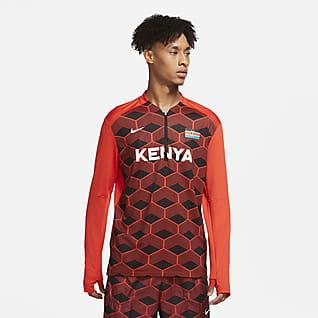 Nike Dri-FIT Team Kenya Element Løbetop med 1/2 lynlås til mænd