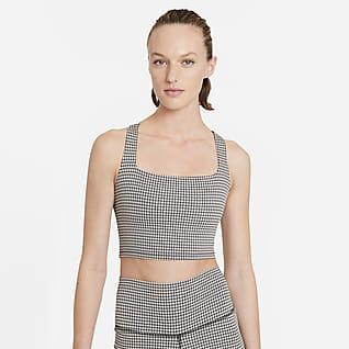 Nike Yoga Rövid szabású női gingham trikó