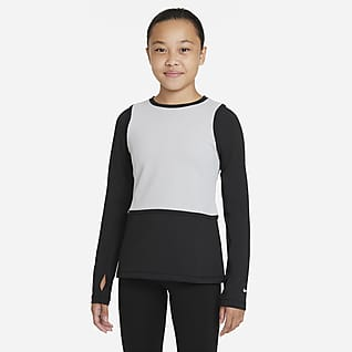 Nike Pro Warm Dri-FIT Langærmet overdel til større børn (piger)