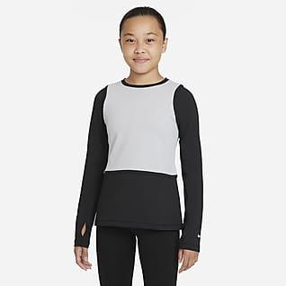 Nike Pro Warm Dri-FIT Tričko s dlouhým rukávem pro větší děti (dívky)