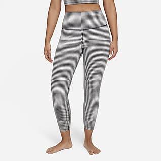 Nike Yoga Korte Gingham-leggings med høj talje til kvinder