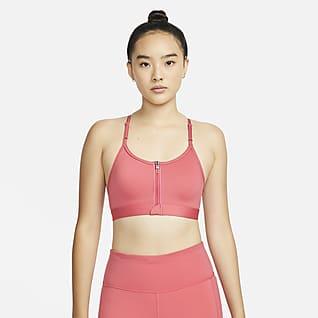 Nike Dri-FIT Indy Zip-Front สปอร์ตบราผู้หญิงซัพพอร์ตระดับต่ำเสริมฟองน้ำ