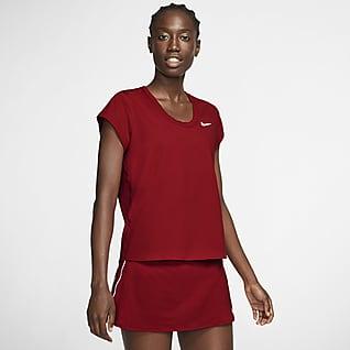 NikeCourt Dri-FIT Kortærmet tennisoverdel til kvinder