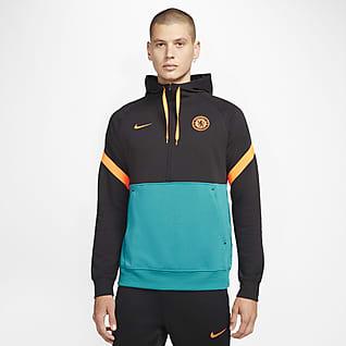 Τσέλσι Ανδρική φλις ποδοσφαιρική μπλούζα με κουκούλα και φερμουάρ στο μισό μήκος