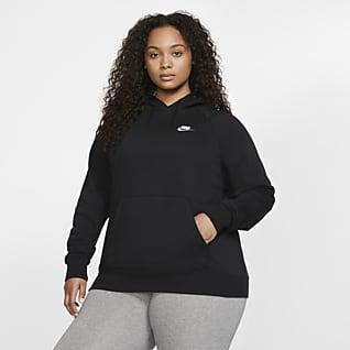Nike Sportswear Essential Felpa pullover in fleece con cappuccio (Plus Size) - Donna