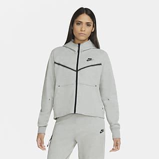Nike Sportswear Tech Fleece Windrunner Hosszú cipzáras, kapucnis női pulóver