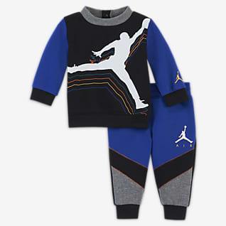 Jordan Kerek nyakkivágású pulóver és nadrág szett babáknak (0–9 hónapos)