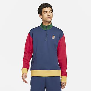 Nike SB Camiseta de skateboard con media cremallera y estampado