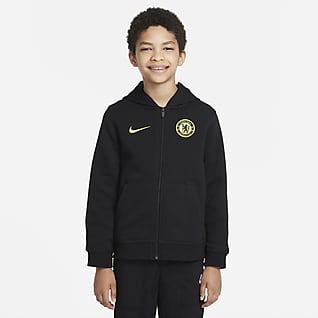 ChelseaFC Sweat à capuche et zip en tissu Fleece pour Enfant plus âgé