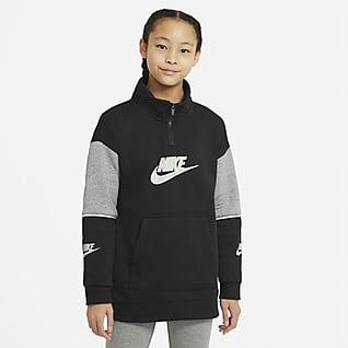 Nike Sportswear Pullover-overdel med lynlås i halv længde til store børn (piger)