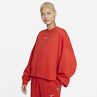 Nike Sportswear Collection Essentials Sudadera de cuello redondo de tejido Fleece oversized para mujer