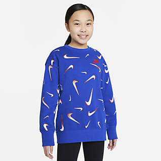 Nike Sportswear Big Kids' (Girls') French Terry Printed Crew