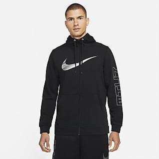 Nike Dri-FIT Sport Clash Sudadera con gorro de entrenamiento de cierre completo con estampado para hombre