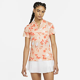 Nike Breathe Γυναικεία εμπριμέ μπλούζα πόλο για γκολφ