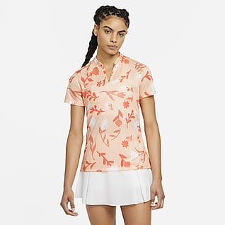 Nike Breathe Женская рубашка-поло с принтом для гольфа