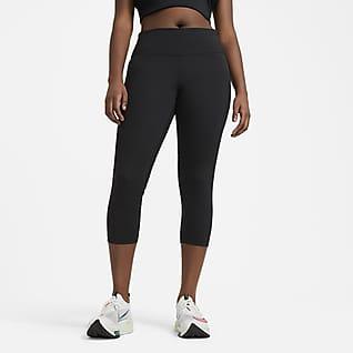 Nike Fast Középmagas derekú, rövidített női futóleggings (nagyobb méret)