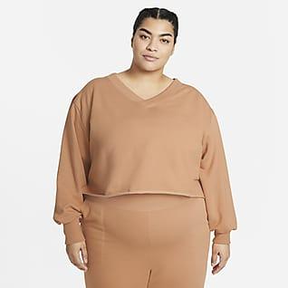 Nike Yoga Luxe Camiseta con cuello en V de tejido Fleece para mujer (talla grande)