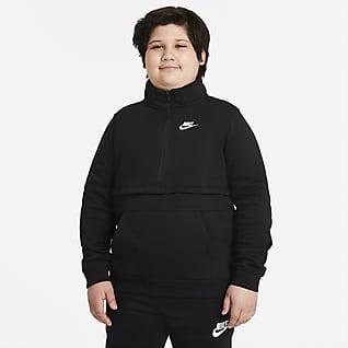 Nike Sportswear Club Overdel med glidelås i halv lengde til store barn (gutt) (utvidet størrelse)