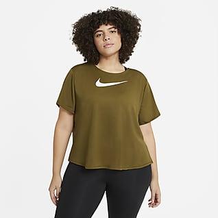 Nike Swoosh Run Kortermet løpeoverdel til dame (Plus Size)