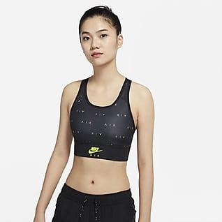 Nike Air Swoosh Lange sport-bh met print, medium ondersteuning en pad uit één stuk