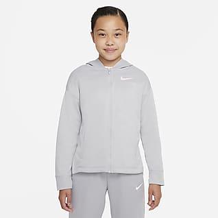 Nike Therma-FIT Sudadera con gorro de entrenamiento de cierre completo para niña talla grande