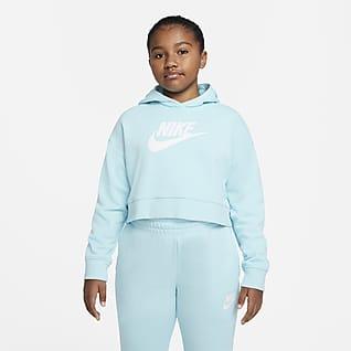 Nike Sportswear Club Sudadera con capucha corta de French Terry para niña talla grande (talla extendida)