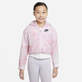 Nike Sportswear Windrunner เสื้อแจ็คเก็ตเด็กโตพิมพ์ลายมัดย้อม (หญิง)