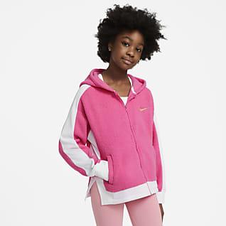 Nike Therma Tréninková mikina s kapucí a dlouhým zipem pro větší děti (dívky)