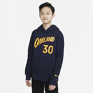 Golden State Warriors City Edition Hráčská mikina Nike NBA skapucí pro větší děti (chlapce)
