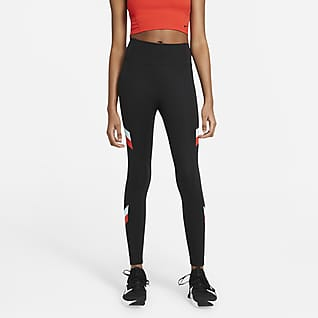 Nike One Leggings a 7/8 a righe in blocchi di colore a vita media - Donna