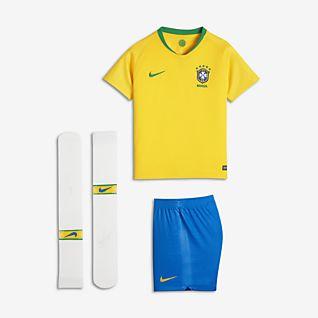 2018 Brasilien CBF Stadium Home Fußballtrikot-Set für jüngere Kinder