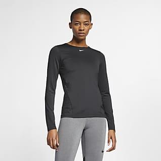 Nike Pro Женская футболка из сетчатой ткани с длинным рукавом