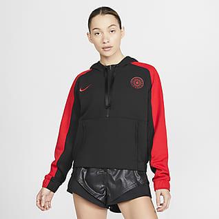 Portland Thorns FC Sudadera corta con capucha de fútbol de medio cierre para mujer
