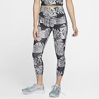 Nike Fast Verkürzte Lauf-Leggings mit hohem Taillenbund und Print für Damen