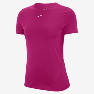 Nike Pro Kortärmad träningströja i mesh för kvinnor
