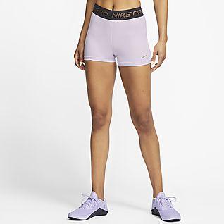 "Nike Women/'s 3/"" Pro Big Dot Purple//Black Training Shorts Size Medium New Tagged"