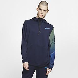 Nike Dri-FIT Træningshættetrøje i fleece med halv lynlås til mænd