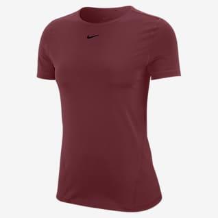 Nike Pro Haut de training en mesh à manches courtes pour Femme