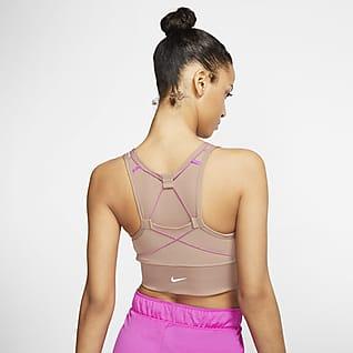 Nike Swoosh Icon Clash Sujetador deportivo con almohadilla de una sola pieza de sujeción media con bolsillos para mujer