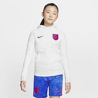 Inglaterra Hoodie pullover de futebol de lã cardada Júnior