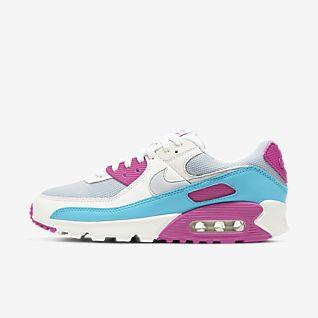 nike air max 90 schuhe weiß blau rosa damen