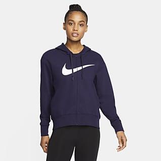Nike Dri-FIT Get Fit Træningshættetrøje med lynlås til kvinder