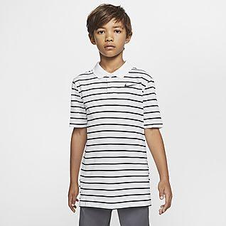 Nike Dri-FIT Victory Gestreiftes Golf-Poloshirt für Jungen