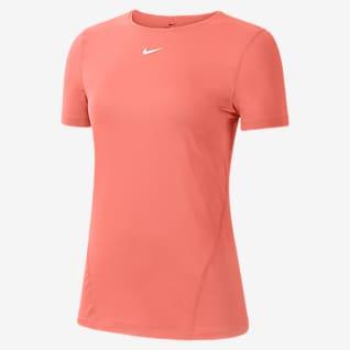 Nike Pro Dámský tréninkový top s krátkým rukávem a síťovinou