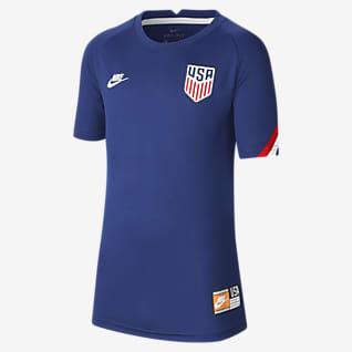 U.S. Camiseta de fútbol de manga corta para antes del partido para niños talla grande